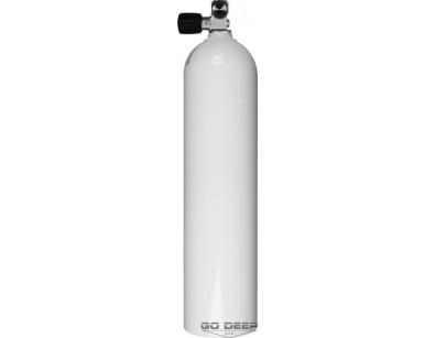 7L Pojedyncza butla aluminiowa biała, 200 Bar, LEWY zawór do rozbudowy + zaślepka